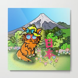 Cute cat in a sunhat at Mount Fuji Metal Print