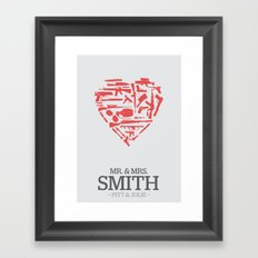 Mr. & Mrs. Smith - minimal poster Framed Art Print