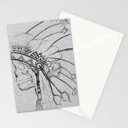 indian skull sketch Stationery Cards