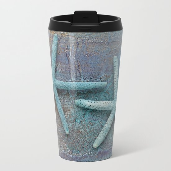 Turquoise Starfish on textured Background Metal Travel Mug