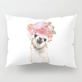 Llama with Beautiful Flowers Crown Pillow Sham