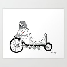 Concerning the very unusual ramp re-locating four pedaled bicycle. Art Print