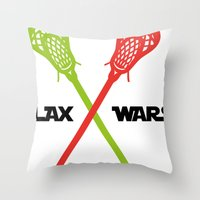 lacrosse Throw Pillows featuring lax wars by laxwear