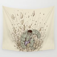 hulk Wall Tapestries featuring Hulk Smash by Alex Solis