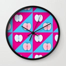 Apples halves pop art pink blue Wall Clock