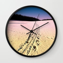 Cross country skiing   Winter wonderland   Landscape photography Wall Clock