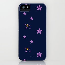 Purple plum violet stars and yellow moon by dark blue night iPhone Case