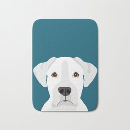 White Boxer pet portrait cute dog lover rescue dog lover Boxers portrait dog breeds Bath Mat
