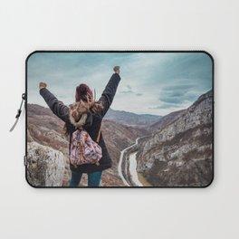 Tourist on the peak of high rocks. Big canyon on Balkan peninsula Laptop Sleeve
