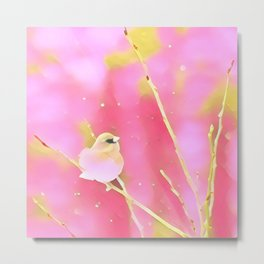 Junco Pink Yellow by CheyAnne Sexton Metal Print