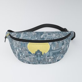space city sun blue Fanny Pack