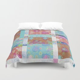 Lotus flower turquoise and apricot stitched patchwork - woodblock print style pattern Duvet Cover