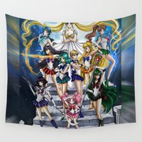sailor moon Wall Tapestries featuring SAILOR MOON  by CARLOSGZZ