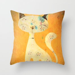Artistic pussycat with a long tail. Throw Pillow