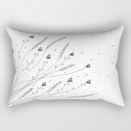 Chamomile Flowers Black and White Rectangular Pillow
