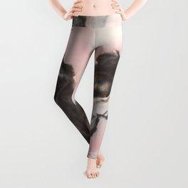 Pink and black marbled paper II Leggings