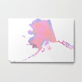 Alaskan Art // Alaska State // Digital Watercolor Metal Print