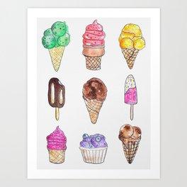 Ice Cream Flavors Art Print