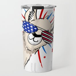 Funny Patriotic Llama Party Shirt For The Fourth Of July Travel Mug