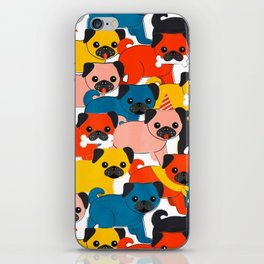 COLORED PUGS PATTERN no2 iPhone Skin