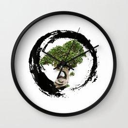 Bonsai Tree Enso Circle Calligraphy Zen T-Shirt Wall Clock