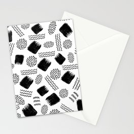 Black white geometrical 80s pattern paint brushstrokes Stationery Cards