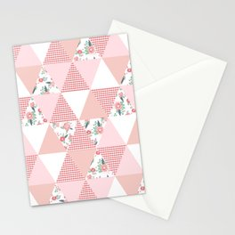 Quilt quilter cheater quilt pattern florals pink and white minimal modern nursery art Stationery Cards