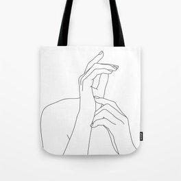 Hands line drawing illustration - Eva Tote Bag