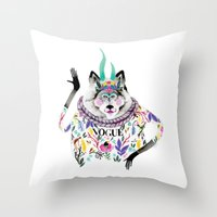 vogue Throw Pillows featuring Vogue by Tania Orozco