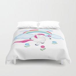 little unicorn and rainbow Duvet Cover
