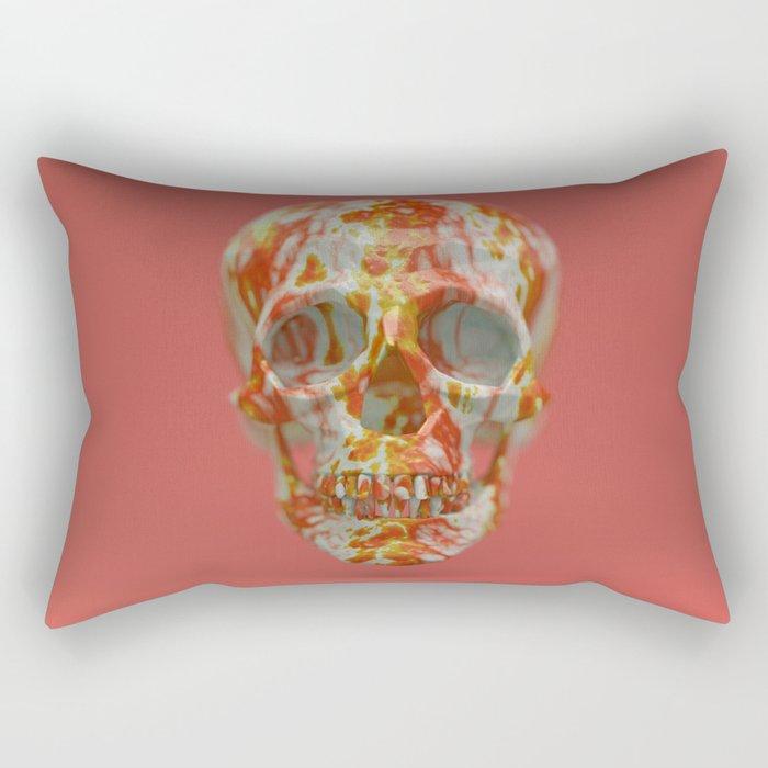 Red Candy Skull Rectangular Pillow
