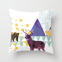 wildlife Throw Pillows featuring wildlife by the coulsons