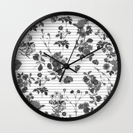 Black and White Floral on Stripes Wall Clock