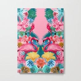 Flamingo and Tropical garden Metal Print