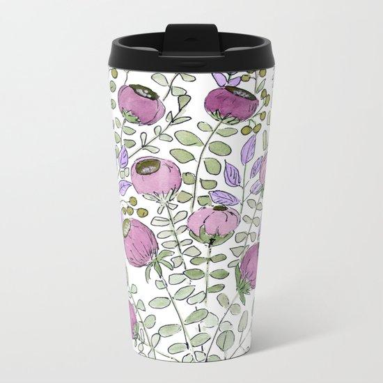 Watercolor. Lilac fairy bells . Metal Travel Mug