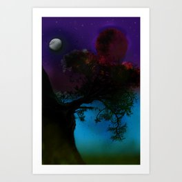 Tree in the space Art Print