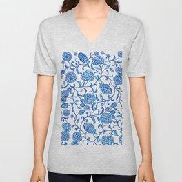 Blue Flowers on White by Fanitsa Petrou Unisex V-Neck