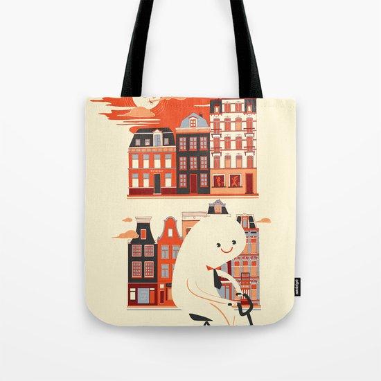 Happy Ghost Biking Through Amsterdam Tote Bag