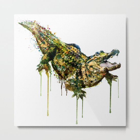 Alligator Watercolor Painting Metal Print