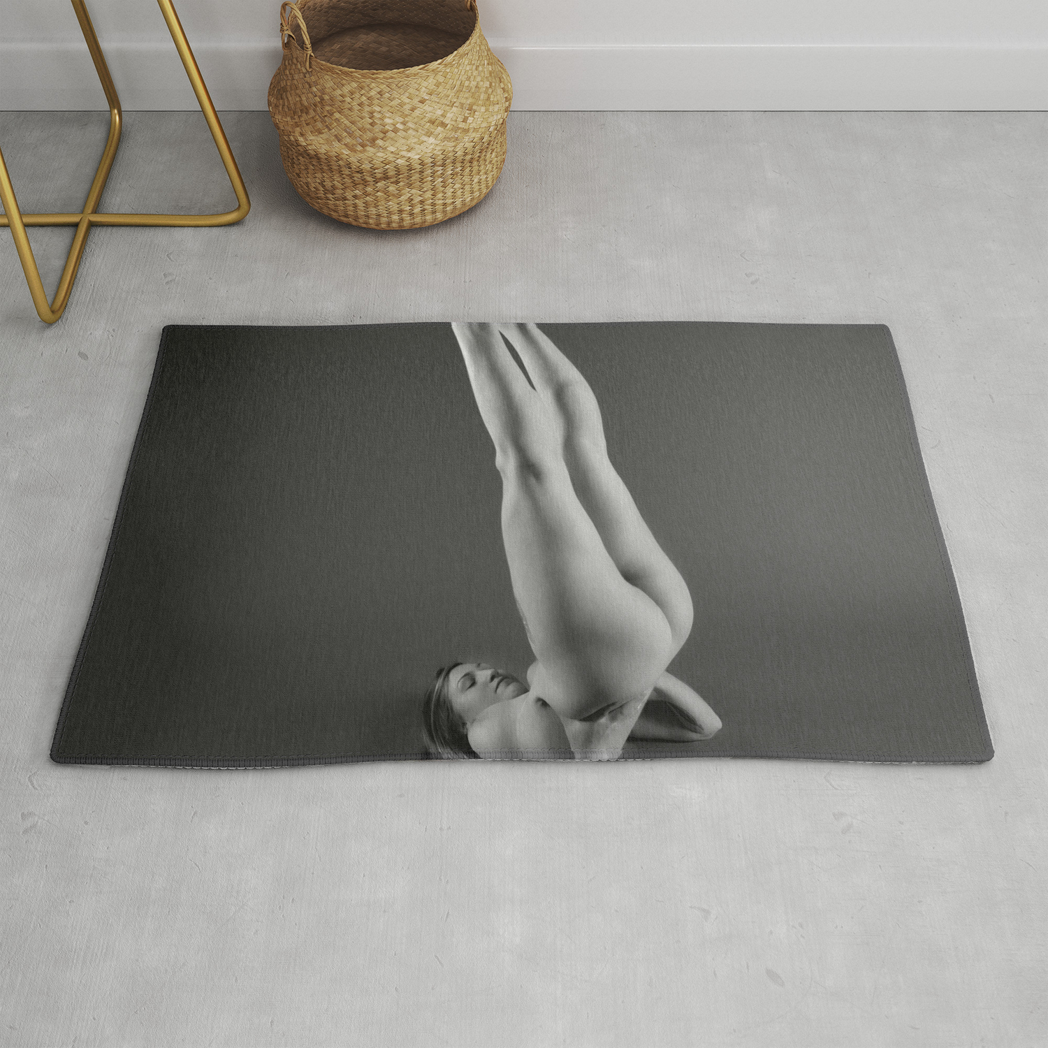 1748s Ms Shoulder Stand Bw Art Nude Yoga Rug By Artonline Society6