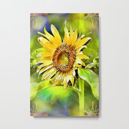 Happy Sunflower Echoes Metal Print