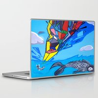 transformer Laptop & iPad Skins featuring Trippy Transformer Bird Mixed Media Painting on Canvas by VibrationsArt