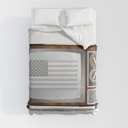 Patriotic Black And White Television Comforters