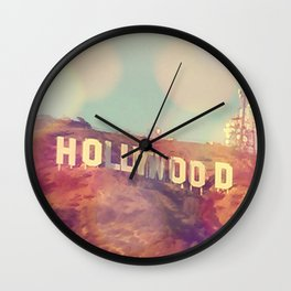 Hollywood Sign, Los Angeles, California - Photograph Wall Clock