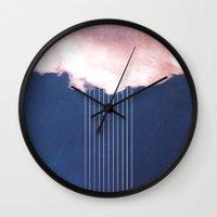 rain Wall Clocks featuring Rain by SUBLIMENATION