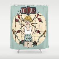 taurus Shower Curtains featuring Taurus by Iria Prol