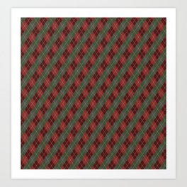 Red Green Plaid Gingham Christmas Holiday Art Print