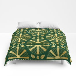 Emerald & Gold Art Deco Fan Comforters