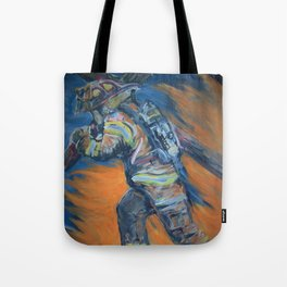 Fire Fighter Carrying his cross. Tote Bag