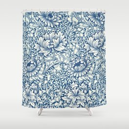 William Morris Navy Blue Botanical Pattern 8 Shower Curtain